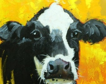 Cow painting 1180 20x20 inch animal original oil painting by Roz