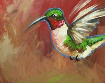 Bird painting 275 Hummingbird 12x12 inch portrait original oil painting by Roz