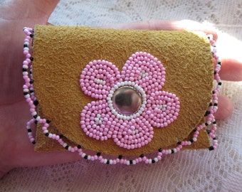 Beaded Leather Pouch ~ Wild Rose Moosehide Change Purse ~ Leather Pouch ~ Gift for Women Sister ~ Pink Rose Leather Pouch