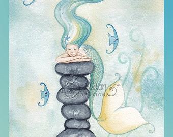 Blue Fish Sleeping Mermaid Original Watercolor Painting by Camille Grimshaw