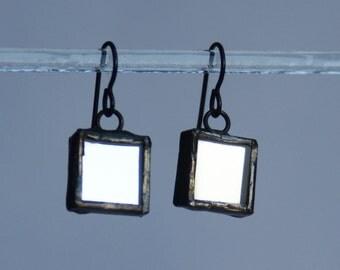 Mirrored Earrings- Artistic Earrings - Glass Earrings- Reflective Earrings- Girlfriend Gift- Gift for Her- Mirror earrings- Dangle Earrings
