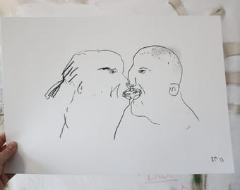 KISSING LOVE FACES - Charcoal drawing illustration on paper - Faye Moorhouse