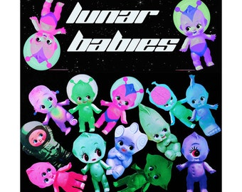 kewpie doll stickers cute big eye alien astronauts boopsiedaisy sticky poos