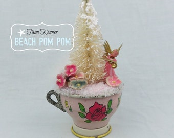 CHRISTMAS Altered Vintage child's pink teacup with PINK Angel & bottle brush tree