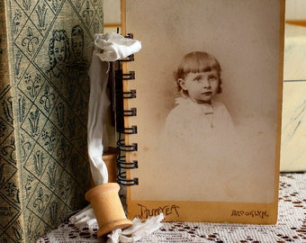 Cabinet Card Journal with water color paper, vintage laces and sari ribbons