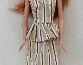 "Striped 11.5"" Fashion Doll Dress Handmade"