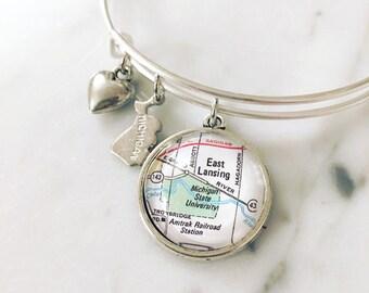 Michigan State University Map Charm Bangle Bracelet - Personalized Map Jewelry - MSU - Spartans - East Lansing - Alumni - Graduation Gift