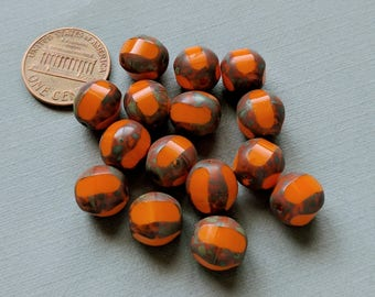 15 Round 10mm Orange Table Cut with Picasso Edges Czech Glass Beads