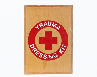 Vintage First Aid Cabinet, Trauma Dressing Kit
