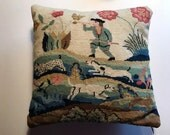 """vintage  handmade needlepoint  pillow vintage 12"""" inch square  the hunt dogs a rabbit"""