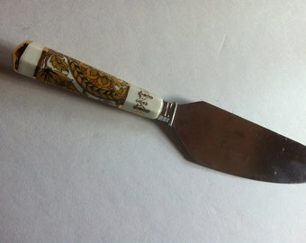 "Vintage Pillivuyt Cheese knife beautiful ceramic handle bought in the UK 10"" long"