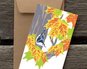 Nuthatch in Sugar Maple : Pack of 8 eco-friendly flat cards