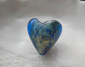Blue Murano Glass Heart Bead