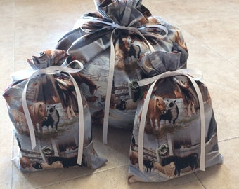 Christmas Gift Bags - 3 Horses farm animals -  Reusable Eco-Friendly Cotton Fabric