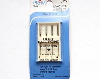 Supplies - Prym Light Ball Point Sewing Machine Needles, sizes 9/11/14