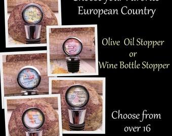 Map Bottle Stopper, Wine, Oil or Vinegar Stopper, Keep a Memory Europe Memory Alive