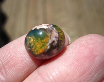 Mexican Fire Opal Cabochon -thick round - 13mm X 10mm