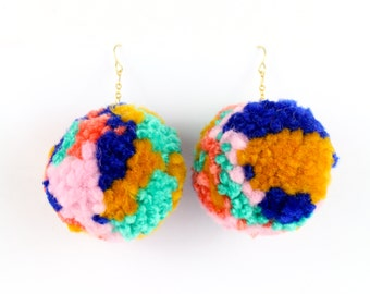 Pom Pom Earrings - Multi Color Yarn Pom Pom Earrings with Gold Ear Hooks