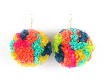 Pom Pom Earrings - Multi Color Yarn Pom Pom Earrings with Gold Ear Hooks - Rainbow