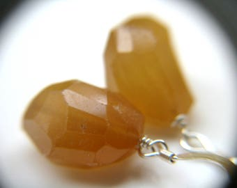 Hessonite Garnet Earrings Silver . January Birthstone Earrings for Mom . Natural Gemstone Earrings - Tea Collection