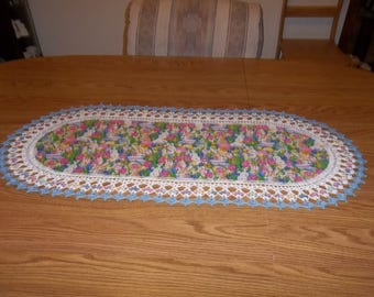 Easter Table Runner, Crocheted, Eggs, Baskets, Easter Bunny, Fabric Center, Crocheted Edge, Centerpiece, Handcrafted, Dresser Scarf, Gift