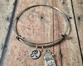 Slot machine initial bangle - slot machine jewelry,casino bracelet, Las Vegas jewelry, gambling jewelry, casino jewelry, Las Vegas bangle