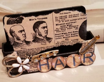 Vintage Hair/Business Card Holder/Scissors And Comb/Gypsy Style