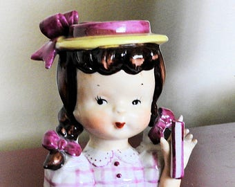 Ceramic Girl Head vase, Vintage Girl with Pigtails, Pencil Pot, Flower Pot