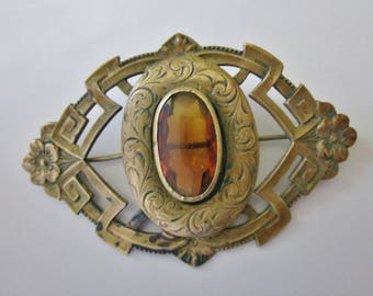 Antique Edwardian Brass Brooch
