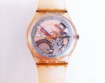 Rare Original 1985 Swatch Jelly Fish GK100 Thin Hands Wristwatch