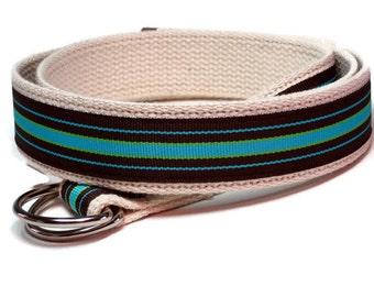 "Khaki Belt Sale- Tan D-Ring Belt- Blue Striped Belt for Teens Boys- Preppy Belt/ Blue and Brown belt (Bermuda Cool) Pant waist 28"" - 32"""