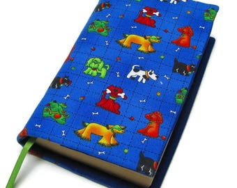 Book cover, STANDARD SIZE paperback book cover, mass market size, book protector, cotton, padded cover, Assorted doggies