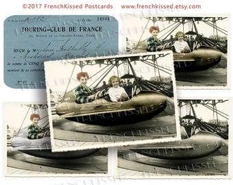 Retro Paris Airplane Carousel France Touring Club Digital 8x10 Page