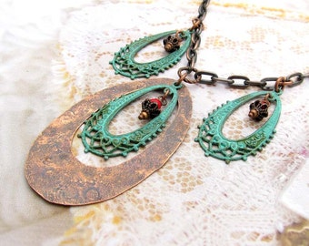 Boho necklace - Copper necklace - Patina verdigris rustic Bohemian jewelry