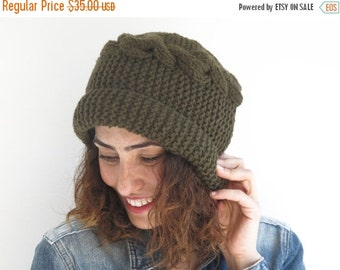 20% WINTER SALE Army Green Hat by Afra
