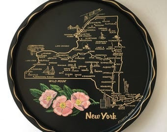 Vintage New York Map Tray Barware Serving Travel Souvenir 1960s Retro State Collectible