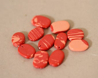 Man-Made Pink Coral 12MM Oval Beads, Coral Beads, Orange Beads, Jewelry Findings. Coral Oval Beads, 34 Pieces