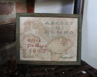Small Early Style Child's Motif primitive Sampler*Alphabet*Spring Bunnies*Muted Colors*Effie Phillips*1863*Fitch Hill Prims*