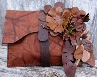 Leather Flower Clutch by Stacy Leigh in Marbled Brown