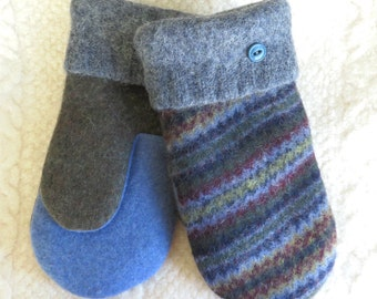 NEW! LINED Size Large/or Men's Size, Repurposed Sweater Wool Mittens, in Blues and Gray, Eco-Friendly Felted Wool Mittens