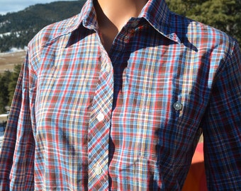 vintage 70s blouse rainbow PLAID preppy button down shirt women's 36 Medium 80s