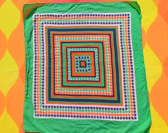 70s vintage BANDANA scarf green orange blue colorful handkerchief bandanna 80s large