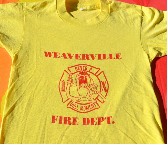 vintage 80s t-shirt WEAVERVILLE fire department taz uniform tee kid's xl adult XS
