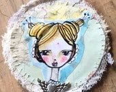Round brooch whimsical watercolor girl grace