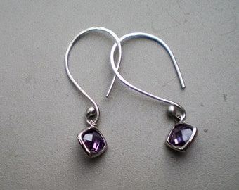 Argentium Silver Handmade Earrings with Amethyst Glass Drops