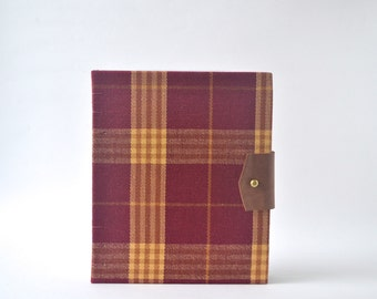 Burgundy & Gold Plaid Hardcover Journal, Handbound Journal with Reclaimed Leather Closure, Hardcover Blank Book