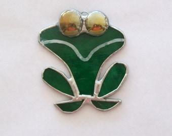 Happy frog stained glass suncatcher little frog sun catcher