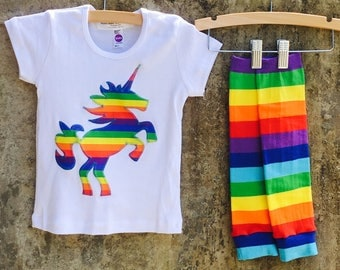 Girls Rainbow Unicorn Shirt or Baby Bodysuit and Leg Warmer Set - Sizes to Fit Infant, Toddlers, Kids - Great Gift or Birthday Party Outfit
