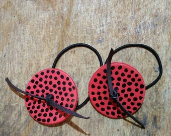 Ladybug  leather hair tie