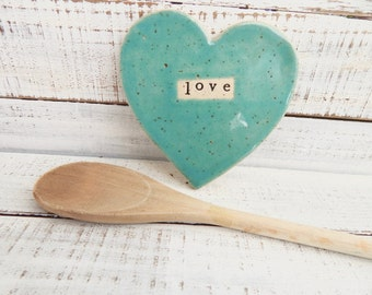 Made to order - LOVE-  Ceramic Heart  - Dish - Spoon Rest - Soap dish - Jewelry Holder- Turquoise- Wedding favor- Shower- Valentines Day